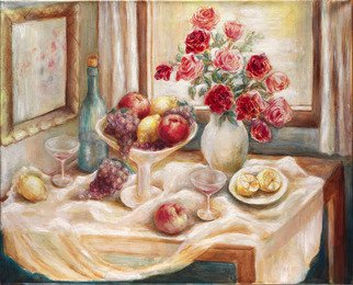 Hana Grosova; Still Life With Roses     , 2007, Original Painting Oil, 32.3 x 26.2 inches. Artwork description: 241  This picture shows fruit, glasses with bottle and the vase with roses. Everything is situated on the table. ...