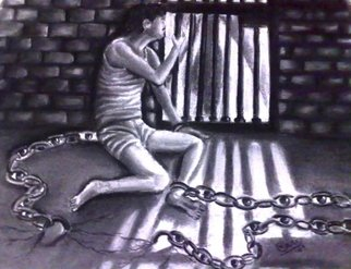 Haris Imtiyaz Khan; My Shaclechain Weeping Also, 2009, Original Drawing Charcoal, 30 x 22 inches. Artwork description: 241  This painting describes the deep feeling of a prisoner who also may be blind. But he improvises his disability to see through his shackle chain. The eyes showing in rings of shackle chain is seems to weeping blood. Actually idea is inspired by great Urdu poet