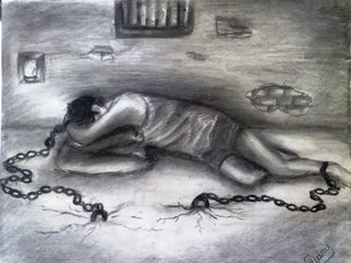Haris Imtiyaz Khan; Prison Of Life, 2009, Original Drawing Charcoal, 76 x 56 cm. Artwork description: 241  This painting shows the Sorrow, Pain & wounds of life. It means it is necessary to face the facts of life till your last breath. Once you will free from life ( the end of life) , you will be free from all your sorrow & pain. So concept of this ...