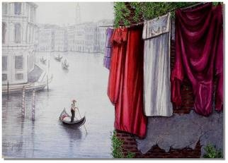 I. Joseph; Bring Out The Wash, 1999, Original Watercolor, 22 x 15 inches. Artwork description: 241       painting of the grand canal in venice           ...
