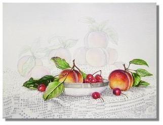 I. Joseph; Peaches And Cherries, 2008, Original Watercolor, 11 x 15 inches. Artwork description: 241  11x15watercolor on paper, realism, still life with fruit ...
