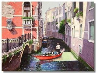 I. Joseph; Red Gondola, 2007, Original Painting Oil, 40 x 30 inches. Artwork description: 241  30x40oil on canvas, realism, canals and bridges in old Venice ...