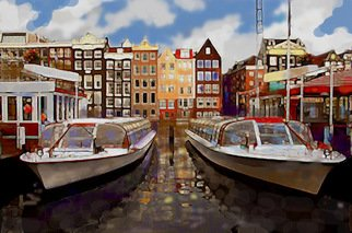 Hasan Abu Bakar; Amsterdam 2, 2010, Original Painting Acrylic, 9.5 x 7 inches. Artwork description: 241    On one of the weekends when I was in London I made an effort to go to Amsterdam. I took a bus on a Friday evening to travel to Holland ( the Netherlands) , the country which conquered Melaka, my beloved place of birth. Melaka then was ruled by ...