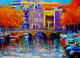 Hasan Abu Bakar; Amsterdam 7, 2010, Original Painting Acrylic, 9.5 x 7 inches. Artwork description: 241    Amsterdam, autumn, dykes, maple trees, Vincent van Gogh, the Netherland, Dutch architecture, canals      ...