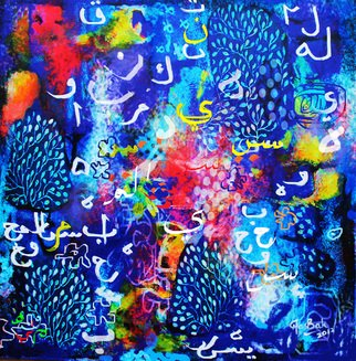 Hasan Abu Bakar; Episode On Blue, 2012, Original Painting Acrylic, 48 x 48 inches. Artwork description: 241    Abstract art, mystical,  emotional expression, poetic, metaphoric        ...