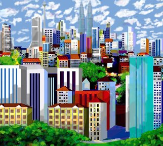 Hasan Abu Bakar; Kuala Lumpur Skyline, 2008, Original Digital Painting, 9.5 x 7.5 inches. Artwork description: 241  I painted the Kuala Lumpur Skyline to change my existed perception. I made it more presentable by portraying the city in a more calm and peaceful mood. A rendition of the city's landmarks the Twin Towers and the KL Tower flaunt majestic and prominent facade, scheming ...
