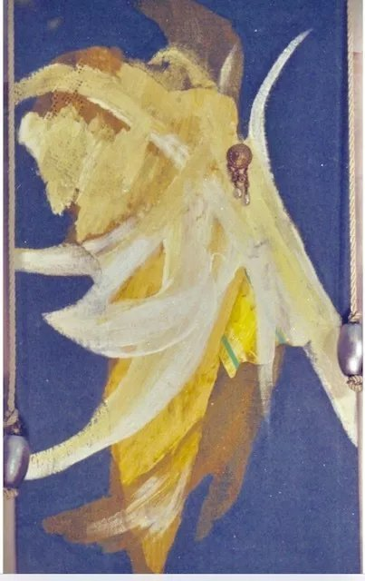 Hatice Brenton; Wing, 1998, Original Painting Acrylic, 11 x 23 inches. Artwork description: 241 Blue sky with open female wing ...