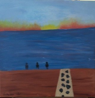 Harris Gulko; Three Guys At The Shore, 2014, Original Painting Oil, 20 x 20 inches. Artwork description: 241 Three Guys at the Shore   file 1008 one K...