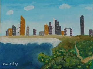Harris Gulko; Tel Aviv Coastline, 2007, Original Painting Oil, 18 x 12 inches. Artwork description: 241 file 1126...