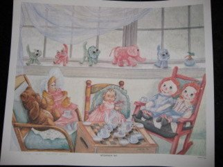 Heidi Bacon; Afternoon Tea, 1990, Original Printmaking Other, 15 x 19 inches. Artwork description: 241  Teddy Bear and Raggedy Ann & Andy wanted a tea party with their favorite dolls.  The cats and elephant on the window sill were hand crafted by my great grandmother.  Laser drum reproduction on paper of an original watercolor painting.         ...