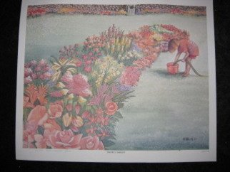 Heidi Bacon; Rachels Garden, 1989, Original Reproduction, 15 x 19 inches. Artwork description: 241    Young Rachel fills her bucket to water the flower garden.  Teal and peach are the predominate colors in this laser drum reproduction of an original watercolor painting    ...