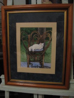 Heidi Bacon; White Cat On Chair, 1990, Original Printmaking Giclee - Open Edition, 16 x 20 inches. Artwork description: 241  Our big fluffy white cat, April, always liked to take her nap on the bent willow chair on the back porch.  Giclee reproduction on canvas of an original watercolor painting.        ...