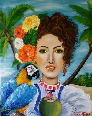 Helen Bellart; Caribbean Woman , 2015, Original Painting Oil, 65 x 81 cm. Artwork description: 241  caribbean girl, caribe, beach, parrot lady, woman, figurative, contemporary art, artwork,        Original painting - Format: 73cmx 60cm - oil on canvas, stretched on a wooden frame - The work is signed on the front and back. - Sealed with protective lacquer. The painting is a beautiful piece of painter Helen Bellart ...
