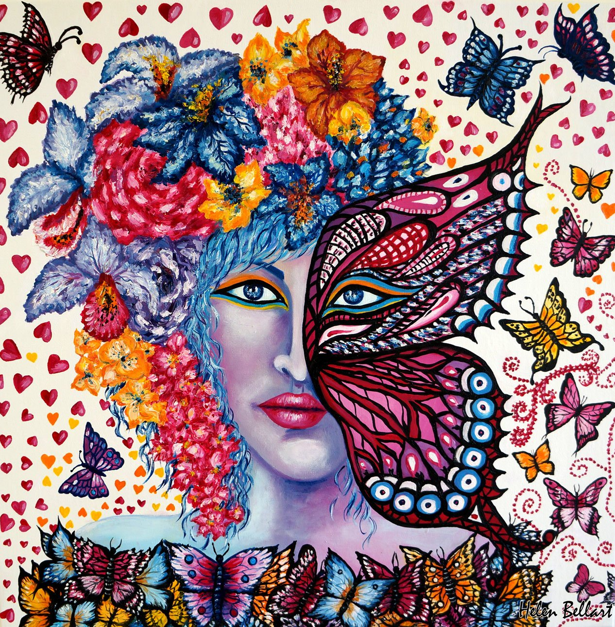 Helen Bellart; Fall In Love, 2017, Original Painting Oil, 50 x 50 cm. Artwork description: 241 Fall in love, oil on canvas, 50x50cm, My new artwork reflects a woman who fall in love and has butterflies in her stomach and a fantastic feeling in the heart. DonA't find love, let love find you ThatA's why is called falling in love because ...
