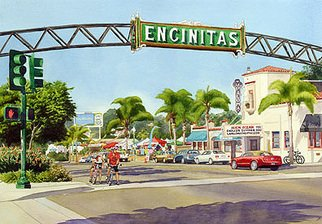 Mary Helmreich; Encinitas California By M..., 2009, Original Watercolor, 40 x 30 inches. Artwork description: 241 Downtown Encinitas Street Scene with La Paloma Theater, Art Market, Cyclists & Red MustangFor my other originals and museum quality prints, check out my websites
