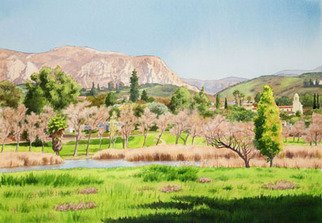 Mary Helmreich; Lakeside California By Ma..., 2008, Original Watercolor, 40 x 30 inches. Artwork description: 241 I painted this original painting in February of 2008. It is one of my favorites.The grass is green and trees are showing early color.For my other originals and museum quality prints, check out my websites