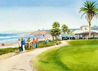 Mary Helmreich; Winter Walk Del Mar By Ma..., 2006, Original Watercolor, 30 x 24 inches. Artwork description: 241 Ocean scene with families on a promenade alongside a lawn with palm trees. Jake' s restaurant and Del Mar community gazebo. Painted in watercolor on 100% Rag D' Arches paper, museum quality matted and framed. Green and Blue predominant.For my other originals and museum ...