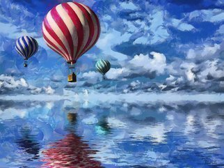 Heloisa Castro; HC0250, 2017, Original Computer Art, 47.2 x 35.4 inches. Artwork description: 241 balloons, colors, clouds, sky, water, red, blue, green, white, art, landscape, painting, abstract, color...