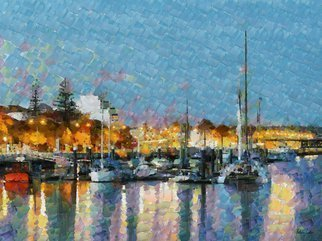 Heloisa Castro; HC0262, 2017, Original Computer Art, 47.2 x 35.4 inches. Artwork description: 241 boats, reflections, sea, trees, landscape, dusk, lights, sky, yellow, blue, red, colorful, abstract, painting, color, art, colors...