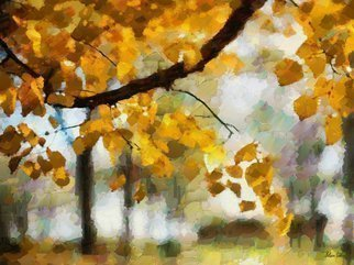 Heloisa Castro; HC0267, 2017, Original Computer Art, 47.2 x 35.4 inches. Artwork description: 241 tree, nature, foliage, leaves, landscape, abstract, yellow, sky, blue, art, painting, color...
