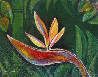 Hemu Aggarwal; Bird Of Paradise In Paradise, 2015, Original Painting Acrylic, 16 x 14 inches. Artwork description: 241   The price $150 is for Canvas Print - 16 x 14, other sizes available. To buy original contact artist- hyaggarwal@ gmail. com.acrylic, orchids, bird of paradise, tulip, romantic, sensuality, flowering, bunch, horticultural, landscaping, cultivated, thrive, lush color, flourish, ecology, exotic, blossom, botanical, bouquet, garden botany, blooming, sense, ...
