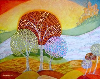 Hemu Aggarwal; Landscape In My Dream, 2015, Original Painting Acrylic, 37.5 x 30 inches. Artwork description: 241  The price $150 is for Canvas Print - 16 x 14, other sizes available. To buy original contact artist- hyaggarwal@ gmail. com.acrylic, landscape, dream, decorative painting, fairy tales, colorful painting, stylized painting, contemporary painting, trees, river, water, fishes, earth, nature painting,...