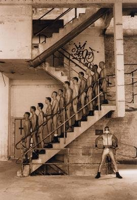 Henning Von Berg; STAIRWAY, 1997, Original Photography Silver Gelatin, 11 x 14 inches. Artwork description: 241 Location: Chemische Werke Koeln- Kalk/ Germany.This very unique image is one of the results of the famous group photo shoot FACTORY BOYZ. After weeks of intense preparations, on June 21st 1997 in Cologne/ Germany, twentyeight amateur models were ready to pose in the nude in an ...