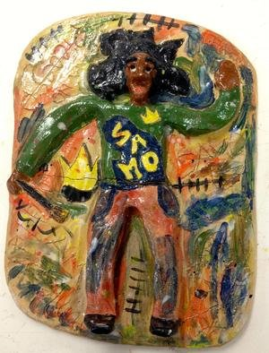 Henry Funches; i am basquiat , 2013, Original Sculpture Ceramic,   inches. Artwork description: 241   , basquiat, picasso, h. funches  dancing with color , dance smile laugh , chasing color pt2, flight , the red parrot  , should train , don cornelius   beauty    , illusion, the illustrious illusion  whitney houston, whitney , bobby brown , she flows  the birth , the bith in full color . i , i love art, henryafunches, h. funches3rd, ...
