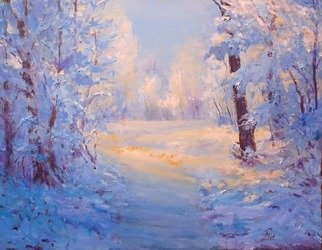Julia Utiasheva; Winter Path, 2008, Original Painting Oil, 18 x 14 inches. Artwork description: 241  Oil on canvas panel 14