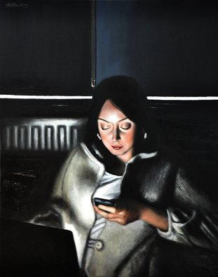 Matthew Hickey; Screen Time: Sarah, 2011, Original Painting Oil, 21 x 31 inches.