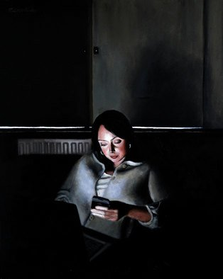 Matthew Hickey; Screen Time: Sarah 2, 2011, Original Painting Oil, 21 x 31 inches.