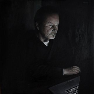 Matthew Hickey; Screen Time: Uncle Pat, 2013, Original Painting Oil, 39 x 39 inches. Artwork description: 241  Levittown legend Pat Connolly absorbed by Cat Stevens footage in a Slate Lane kitchen.  ...