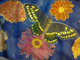 Heather Garafano; Close Up Of Black Butterfly, 2013, Original Painting Other, 58.5 x 10 inches. Artwork description: 241   100% Silk scarf painted with Jacquard silk dyes and metallic fabric paint. There are 3 different types of butterflies, 5 total, along with various types of marigolds, dahlias, peonies and zinnias. This scarf took over 250 hours to complete.   ...
