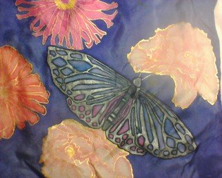 Heather Garafano; Silver Moth Close Up, 2013, Original Painting Other, 58.5 x 10 inches. Artwork description: 241            100% Silk scarf painted with Jacquard silk dyes and metallic fabric paint.        ...