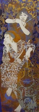 Hilary Pollock; Etruscan Dreaming, 2010, Original Painting Acrylic, 2 x 6 feet. Artwork description: 241     figure in the landscape     ...