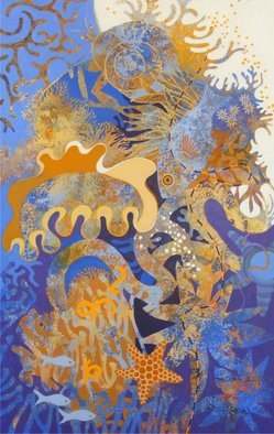 Hilary Pollock; The Reef Downunder, 2010, Original Painting Acrylic, 2 x 3 feet.