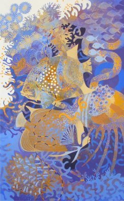 Hilary Pollock; The Reef Downunder B, 2010, Original Painting Acrylic, 2 x 3 feet.