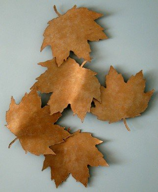 Bob Hill; Golden Fall, 2008, Original Sculpture Steel, 32 x 40 inches. Artwork description: 241  Five huge Maple leaves are falling gracefully through the Fall breeze     in this stunning wall sculpture. ...