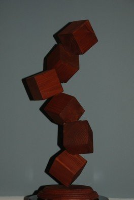 Bob Hill; Six Up, 2009, Original Woodworking, 9 x 25 inches. Artwork description: 241  Six cubes seem to float, dance  or tumble in an exciting and beautiful wood sculpture. ...