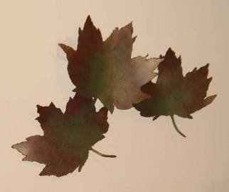 Bob Hill; Time To Change, 2006, Original Sculpture Steel, 28 x 23 inches. Artwork description: 241  Three large maple leaves float down on a sunny fall day; a glorious wall sculpture. ...