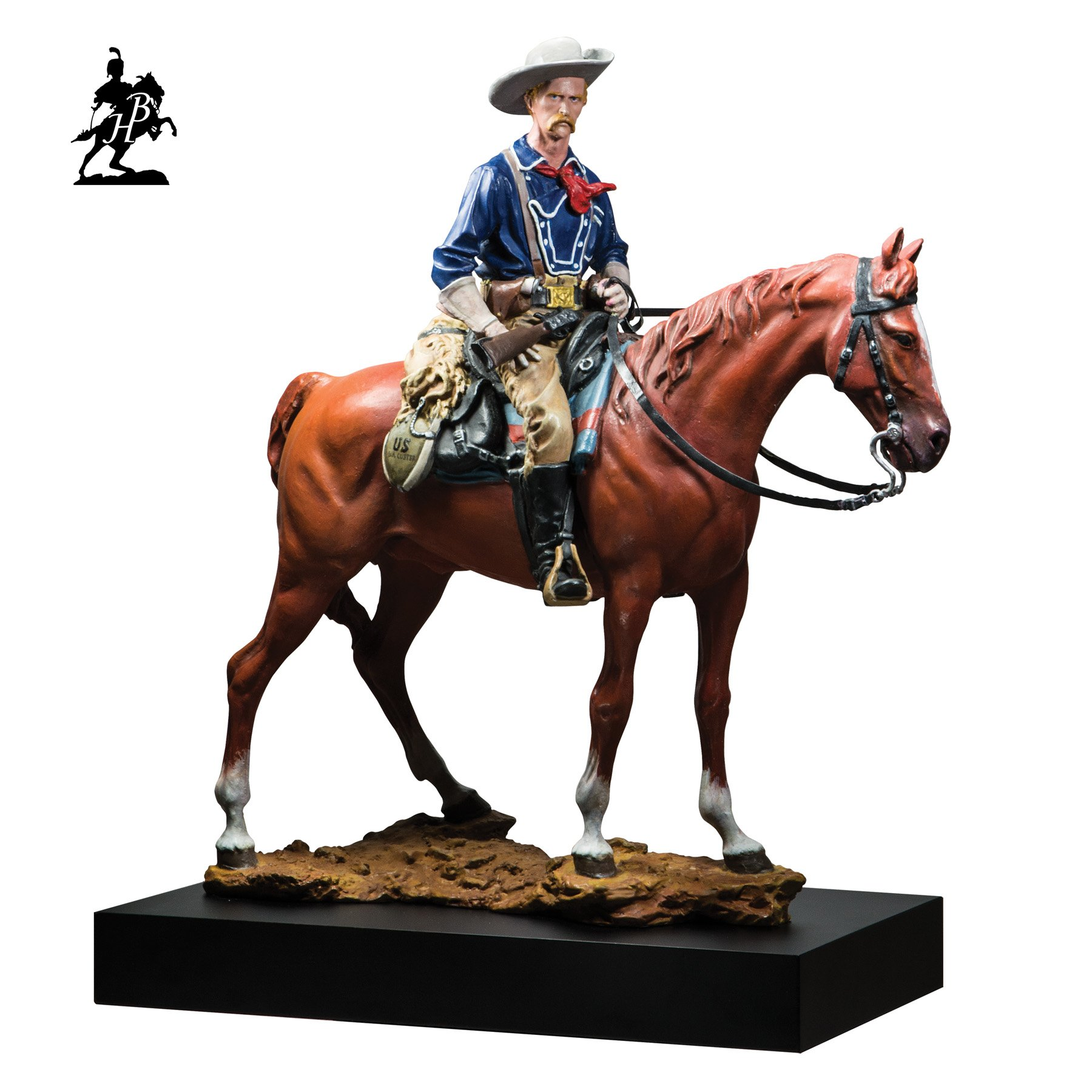 Fernando  Andrea; Polychromed General Georg..., 2014, Original Sculpture Bronze, 7.5 x 17 inches. Artwork description: 241  i? 1/2General George Armstrong CusterSon of the Morning Stari? 1/2Polychrome bronze version,available by special order only.  BY FERNANDO ANDREASCALE 16 BRONZE SCULPTURELIMITED EDITION 20 copiesCERTIFICATE OF AUTHENTICITY INCLUDEDWax Stamp and signature of the sculptorHISTORYBeginning in the Renaissance, bronzes were finished with an essentially monochromatic patination ...