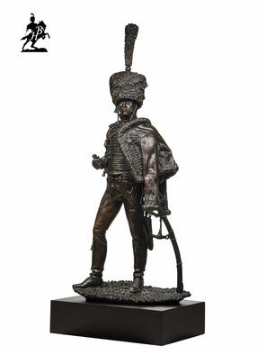 Fernando  Andrea; Le Capitaine 1805, 2019, Original Sculpture Bronze, 15 x 7 inches. Artwork description: 241 BY FERNANDO ANDREASCALE 1: 6 BRONZE SCULPTURELIMITED EDITION  20 copies WOODEN BASE and CERTIFICATE OF AUTHENTICITY INCLUDED  Wax Stamp and signature of the sculptor HISTORYBy closely following a Detaille s illustration of a French captain of Hussars in 1805, this outstanding work by Fernando ...