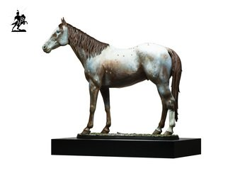 Fernando  Andrea; Polychromed Bronze Sculpture, 2019, Original Sculpture Bronze, 16 x 5 inches. Artwork description: 241 BY FERNANDO ANDREASCALE 16 BRONZE SCULPTURELIMITED EDITION20 copiesWOODEN BASE and CERTIFICATE OF AUTHENTICITY INCLUDEDWax Stamp and signature of the sculptorBanner is a red roan blanket appaloosa born in 2000 and a remarkable noble horse that served Fernando Andrea to create this striking rendition of ...
