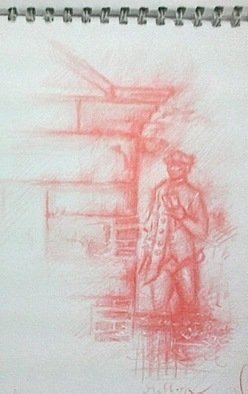 Waldemar A. S. Buczynski; A Sketch Of Captain Cook, 2008, Original Drawing Other, 14 x 18 cm. Artwork description: 241      A sketch of Captain Cook, 15th of November, 2008, Fitzroy Gardens, Melbourne, Victoria, Australia.           ...