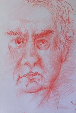 Waldemar A. S. Buczynski; Sunday The 27th Of Octobe..., 2013, Original Other, 15 x 16 cm. Artwork description: 241     A study sketch, in red pencil, of an 85 years old Polish migrant Marian Buczynski.                             ...