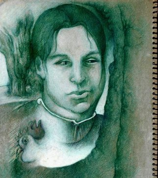 Waldemar A. S. Buczynski; Woman With A Chook, 2006, Original Drawing Other, 22 x 36 cm. Artwork description: 241   A rough study in green and white ink. ...