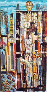 Hampton  Olfus ; Bus Stop On Meeting Street, 2020, Original Mixed Media, 18 x 36 inches. Artwork description: 241 I created this in 2014 while living and working in Charleston South Carolina. I wanted to do a non traditional Charleston scene , so I did a mixed media abstract painting of downtown Meeting Street. ...