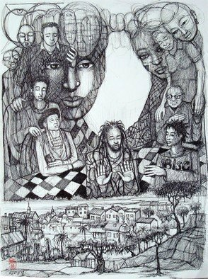 Hampton  Olfus ; Generations, 2019, Original Drawing Pen, 11 x 14 inches. Artwork description: 241 Generations describes visually the link between contemporary families and their link to our shared ancestral heritage. ...