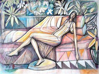 Hampton  Olfus ; Lazy Afternoon, 2020, Original Drawing Other, 24 x 18 inches. Artwork description: 241 This piece was inspired by classical art compositions, of women of leisure. ...