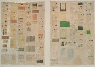Hope Brooks; Painting For Adrian I, 2005, Original Mixed Media, 60 x 108 inches. Artwork description: 241    Inspired by letters written to me over the period 1962 - 2005 by Adrian Ricci, my close friend while at the Edinburgh College of Art in Scotland.  It comprises two panels each 60 X 108  covered with tranfer prints of letters and memorabilia received from Adrian over more ...